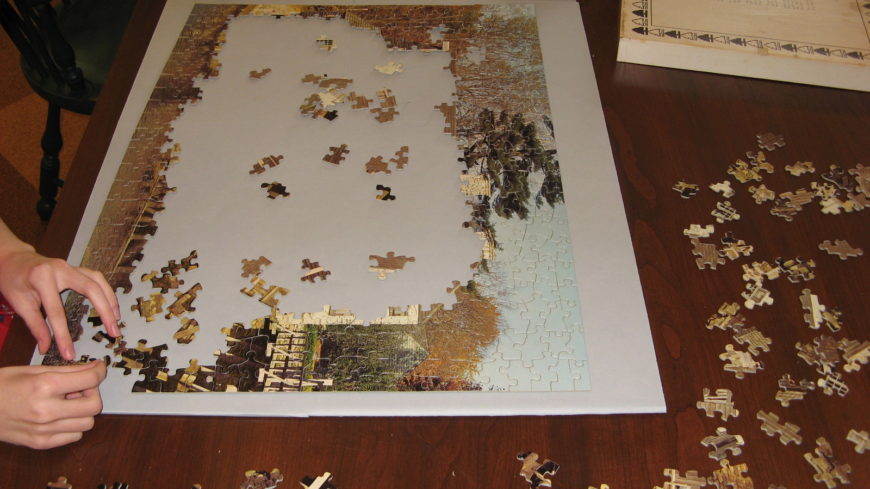 PMUM Puzzle In Progress With HS's Hands Close UP