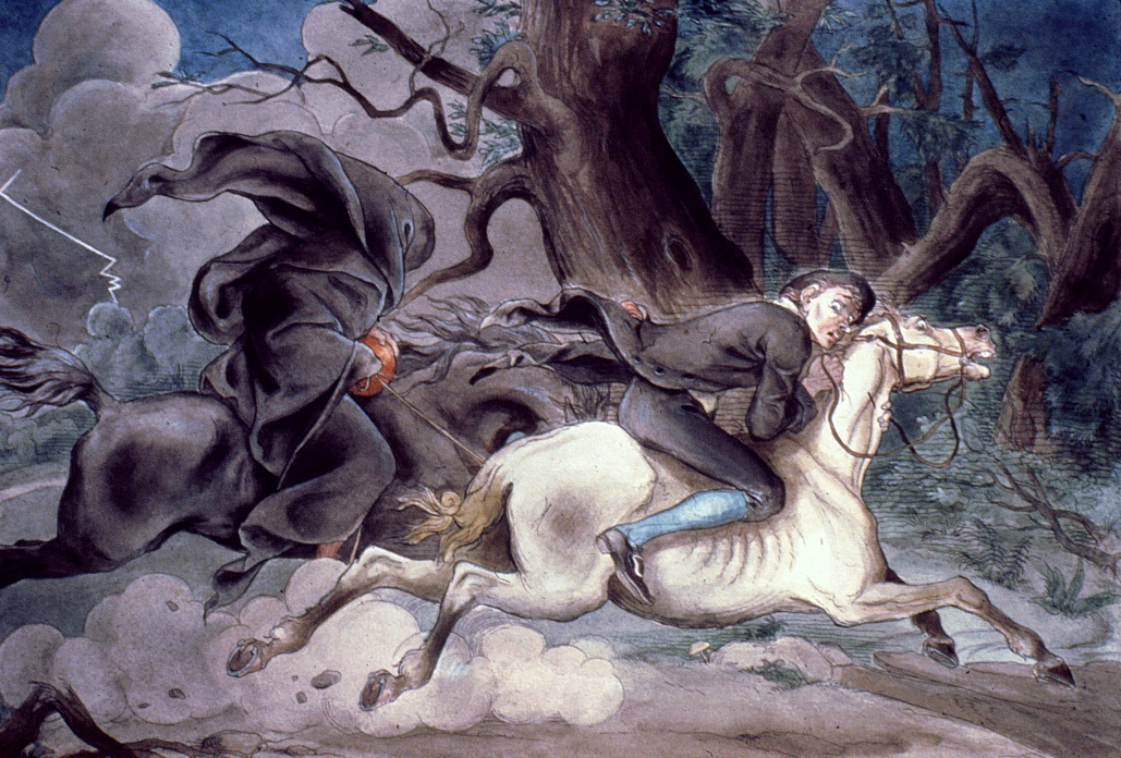 """One of a set of six drawings to illustrate """"Legend of Sleepy Hollow."""" Felix O. C. Darley. New York City, c. 1849, with later coloration. Ink and watercolor on paper. Historic Hudson Valley (SS.80.26)."""