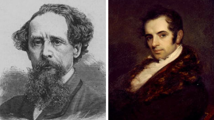 Portraits of Charles Dickens and Washington Irving