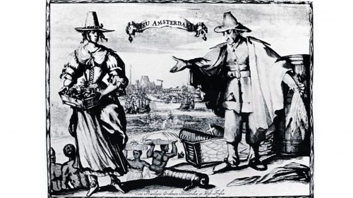 Detail from a c. 1643 engraving of Dutch traders