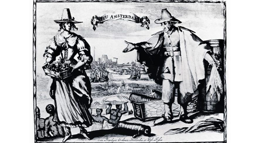 A detail from a c. 1643 engraving of Dutch traders