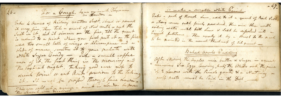 Receipt (Recipe) book. Magdalena Douw Stevenson (1750–1817) and Ann Stevenson Van Cortlandt (1774–1821), compilers. Albany, 1810–1820. Ink on paper, handwritten and bound with wallpaper cover. Historic Hudson Valley, Pocantico Hills, NY (V2443), Gift of Mrs. Robert P. Browne.