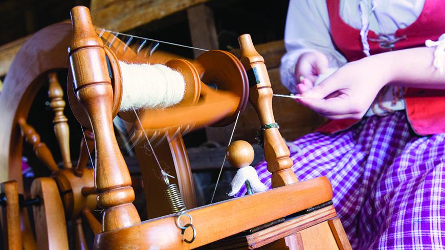 Spinning Wool at Sheep to Shawl